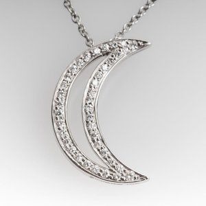 2 carats round diamond moon style pendant white go